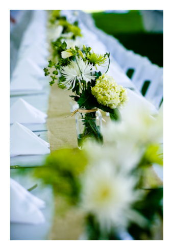 Wedding Flowers: White Hydrangeas, Freesia, Spider Mums